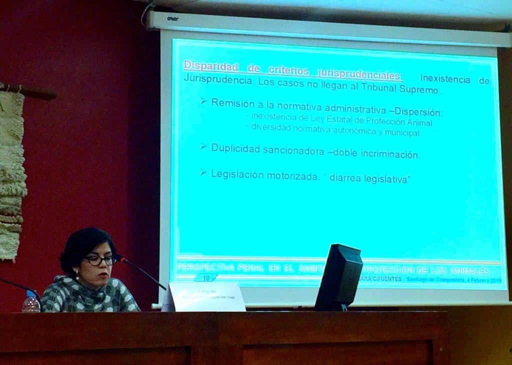 La jueza Pilar de Lara en un momento de su ponencia en la USC
