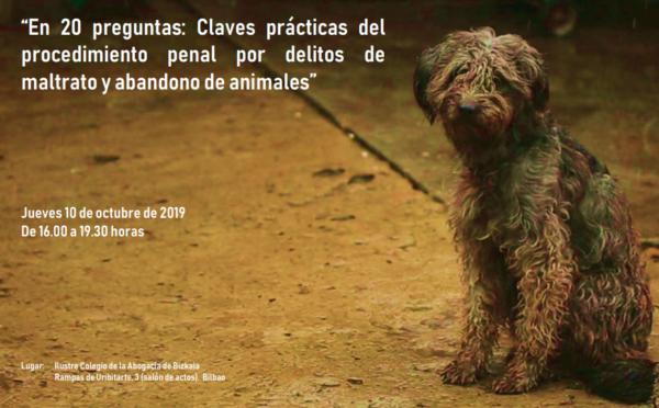 Póster del seminario sobre Derecho Penal y maltrato animal Colegio Abogados Bizkaia